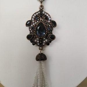 Antique Turkish aquamarine brass necklace